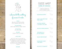 Order Of Wedding Program Casual Program Etsy