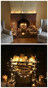 add a string or two of twinkle lights in the fireplace to add a