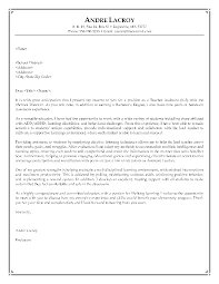 job sample cover letter cover letter educational assistant cover letter special