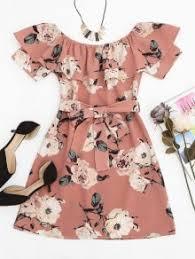 dress pink ruffle floral shoulder mini dress pink print dresses s zaful