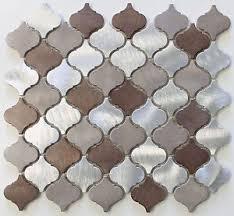 mosaic tile kitchen backsplash casablanca brushed aluminum arabesque mosaic tiles kitchen