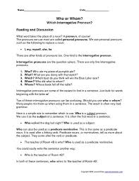 bunch ideas of interrogative pronouns worksheets for grade 3 with