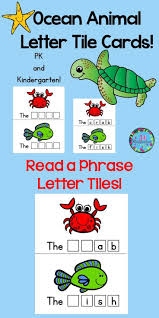 ocean animals letter tile cards animal letters literacy and