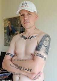 yorkshireman 39 has 15 miley cyrus tattoos inked across his body