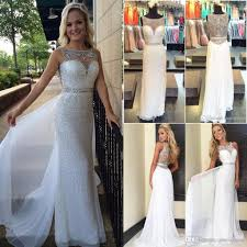 white sequins evening dresses 2016 new illusion neck crystal