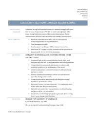 Public Affairs Cover Letter Community Relations Manager Resume Samples Public Relations