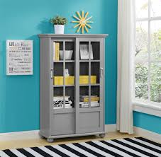 dorel home furnishings aaron lane soft gray bookcase with sliding