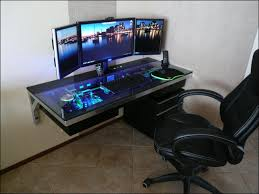 interior cool computer desk setup for gamers with black table for