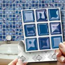 18 blue glass mosaic effect wall tiles 2mm thick and solid self