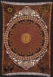 Pentacle Rug Sun Lleu Afghan Throw By Welsh Artist Jen Delyth Celtic Art
