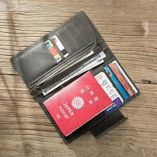 Handmade leather mens travel wallet passport leather wallet long