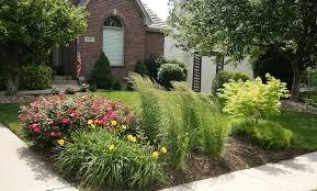 corner landscape installationpanting daylily ornamental