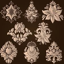 ornamental floral damask elements vector material 04 vector