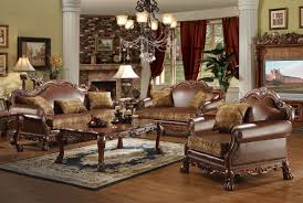 dresden bycast leather chenille living room set in cherry