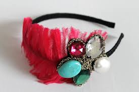 the hairband tip make a stunning bejewelled feather hairband