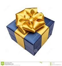 blue and gold ribbon gift box with ribbon stock photo image 52118130