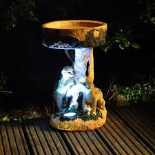 kingfisher meerkat garden bird bath with solar led light ornament