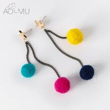 felt earrings aomu handmade design colorful asymmetry circle plush