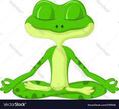 frog cartoon doing yoga royalty free vector image