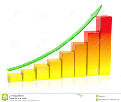 growing chart orange growing bar chart with green arrow business success conce