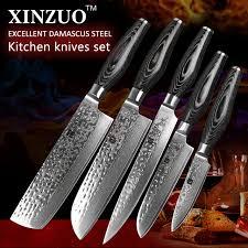 stainless steel kitchen knives set aliexpress com buy 5 pcs kitchen knives set damascus steel