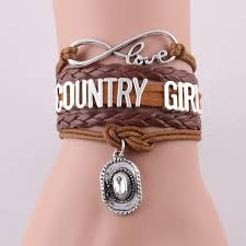 wholesale infinity country bracelet cowboy hat charm