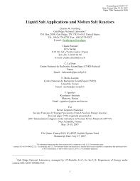 liquid salt applications and molten salt reactors pdf download
