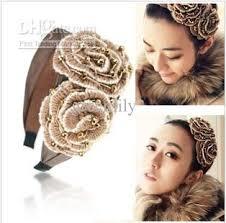 fashion headbands 2017 korean handmade fashion wool camellia hairbands