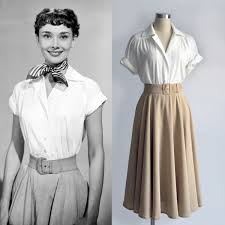 audrey hepburn fashion roman holiday white blouse pleated