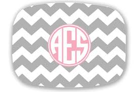 personalized melamine platters personalized melamine platter zig zag grey and pink