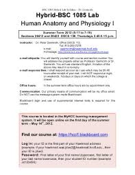 Human Anatomy And Physiology Courses Online Bio Syllabus Spring Hybrid Considerable Hybrid Anatomy And