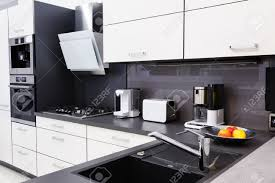 modern hi tek kitchen clean interior design stock photo picture