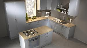 cuisine gris mat et plan de travail bois