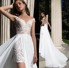 Summer Wedding Dresses 2017 Short Lace Gowns With Chiffon
