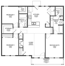 home plan floor plan for small 1 200 sf house with 3 bedrooms and 2