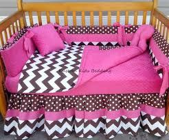 Pink Brown Crib Bedding White Polka Dot Chevron W Pink Crib Bedding Set