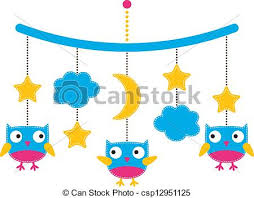 vector illustration of baby arrival or shower card crib mobile