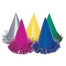 party hats fringed foil party hats assorted 6ct kitchen dining