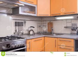 Kitchen Shades Modern Kitchen In Shades Of Peach Royalty Free Stock Photography
