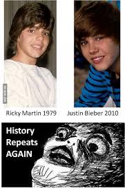 Ricky Martin Meme - ricky martin 1979 justin bieber 2010 history repeats again justin