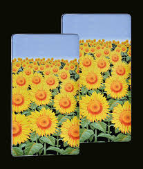amazon com set 2 rectangle stove top burner covers sunflower