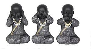set of 3 wise monk buddha ornaments 13 5cm finish hear see