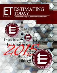 Construction Estimating Certification by Estimating Today Society Of Professional Estimators