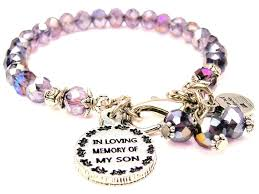 in loving memory charms lavender purple in loving memory of my bracelet