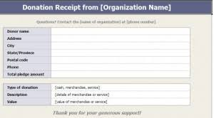 charitable donation receipts template donation receipt