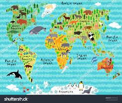 animal map world waves children kids stock vector 227075212