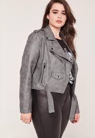 leather biker jacket plus size faux leather biker jacket grey missguided