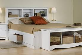 amazon com platform storage bed w bookcase headboard white