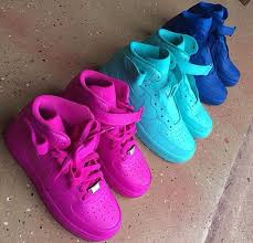 candy paint nike air force 1 customs in all red blue green pink