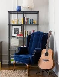 Velvet Wingback Chair Blue Velvet Chair Blue Velvet Armchair With Tufted Back Modern